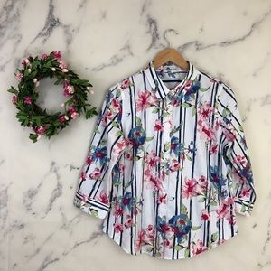 Coldwater Creek Floral Striped Button Down Shirt